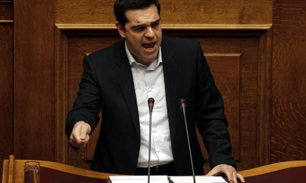 Alexis Tsipras delivers a speech to parliament in Athens on 6 April