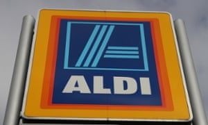 The Aldi supermarket sign in Worcester. The discount chain has grown rapidly in recent years as shoppers have keep a tight rein on their budgets.