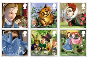 Stamps from the Royal Mail's Alice in Wonderland series – but no sign of the author.