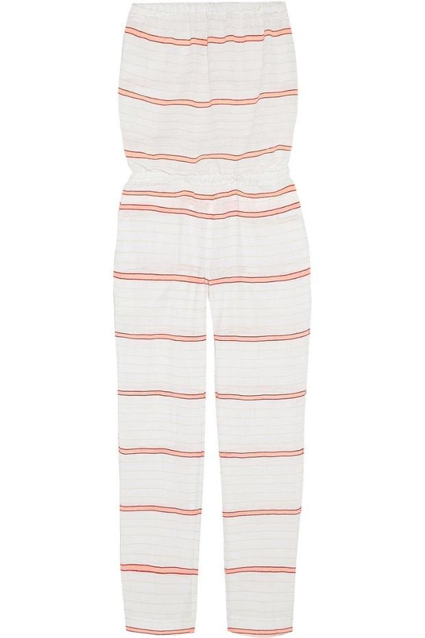 "Lemlem Abara striped cotton-blend gauze jumpsuit, &#163;225, <a href=""http://www.net-a-porter.com/product/506669/LemLem/abara-striped-cotton-blend-gauze-jumpsuit-"">Net-a-Porter </a>"