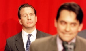 Michael Portillo listens to Stephen Twigg's victory speech in Enfield Southgate in the 1997 general election.
