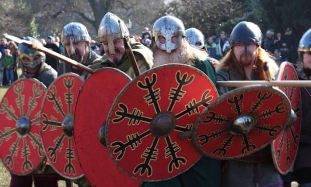 On the warpath … Viking re-enactors from the Jorvik centre try to strike the right tone.