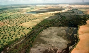 30 Apr 1998, Spain --- The landscape of the Donana Nature Reserve bears the damage of an accident in which 5.2 million cubic meters (182 million cubic feet) of highly acidic water poured into the Guadimar River after a dam broke its banks, Aznalcollar, Spain.