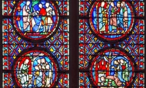 Section detail of stained glass windows in Sainte-Chapelle.