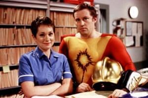 Emily Joyce as Janet and Ardal O'Hanlon as Thermoman, BBC1