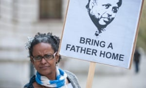 Yemi Hailemariam outside the Foreign Commonwealth Office