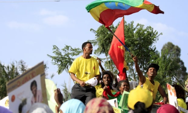 No sign of flagging …an Ethiopian People's Revolutionary Democratic Front election rally in Addis Ababa. The party's lengthy period in office is likely to be extended.