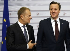 European council president, Donald Tusk, left, with British prime minister, David Cameron