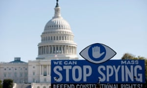 Capitol, Stop Spying sign