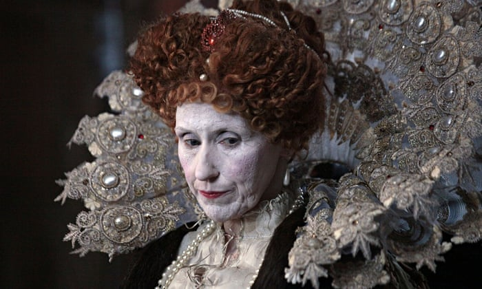 Anita Dobson as Queen Elizabeth I in the BBC's Armada. 'Streaked with white and red makeup, Anita Dobson resembled nothing so much as Heath Ledger's Joker.' Photograph: Mark Edger/BBC