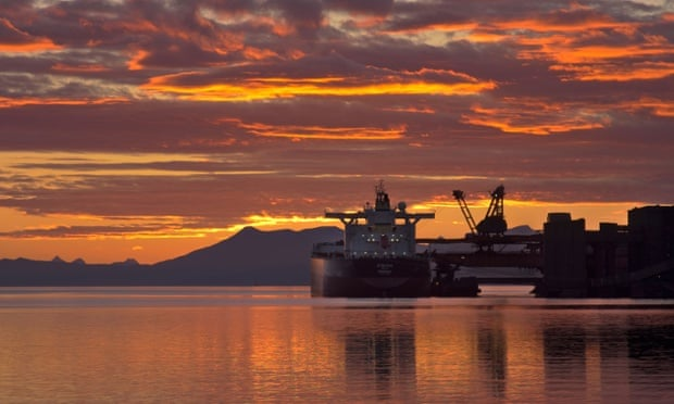 A ship being loaded in the coal port at sunset, Narvik, Norway