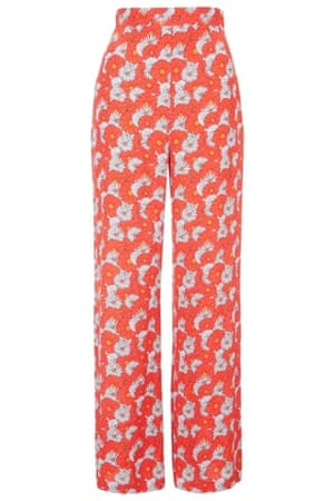 Flower-print wide-leg trousers