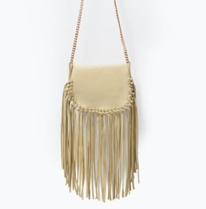 Fringed leather messenger bag