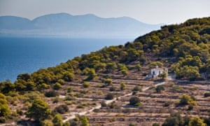 The hillside village of Vagia on Aegina, Greece
