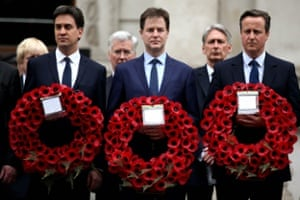 Labour Party leader Ed Miliband, Liberal Democrat leader Nick Clegg and Prime Minister David Cameron attend a tribute at the Cenotaph