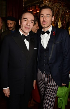 John Galliano (L) and Alexis Roche attend Edward Enninful's party.