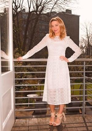 Jess in white summer dress