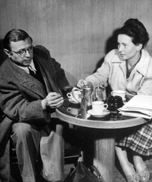 Jean Paul Sartre and Simone de Beauvoir take tea together in 1946.