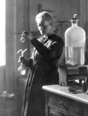 Marie Curie working in her laboratory in Paris in 1925.