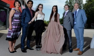 Left to right: headteacher Diane Atkinson and pupils Moaaz Sidat, Chloe Ritchie, Aneesah Hussain and Damian Mariner, with Gary Chinery before Blackburn central high school's prom on a budget.