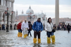 October 2012: St Mark's Basin during 'exceptional high' water, which left more than 70% of Venice flooded when sea level rose to over 150cm. The maximum documented tide level was 194cm in November 1966.