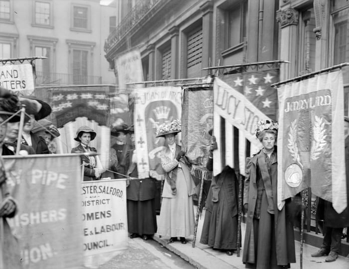 Suffragettes taking part in a pageant organised by the National Union of Women's Suffrage Societies, June 1908