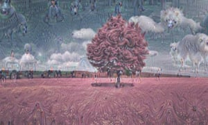 A hallucinatory filter over a red tree. Spot the animals.