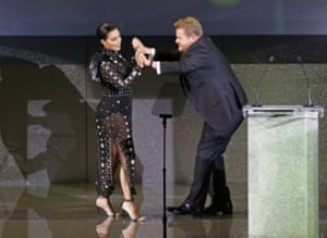 Kim Kardashian and host James Corden at the CFDA Fashion Awards.