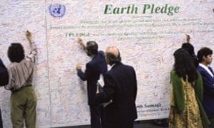 United Nations Conference on Environment and Development (UNCED), 3-14 June 1992 People at conference signed Earth Pledge