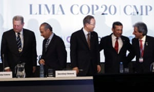 Former Vice President of the Unites States Al Gore, left, Former President of Mexico Felipe Calderon, second lef, U.N. Secretary General Ban Ki-moon, center, Peru's President Ollanta Humala, second right, and Peru's Environment Minister and President of the COP, Manuel Pulgar Vidal, gather at the U.N. Climate Change Conference in Lima, Peru, Thursday, Dec. 11, 2014. Delegates from more than 190 countries are meeting in Lima, to work on drafts for a global climate deal that is supposed to be adopted next year in Paris.