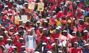 Supporters of the ruling Ethiopian Peoples Revolutionary Democratic Front at a pre-election rally