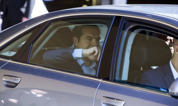 Alexis Tsipras leaving the talks.