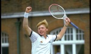 Boris Becker winning the Stella Artois Mens Singles at Queens Club in 1985