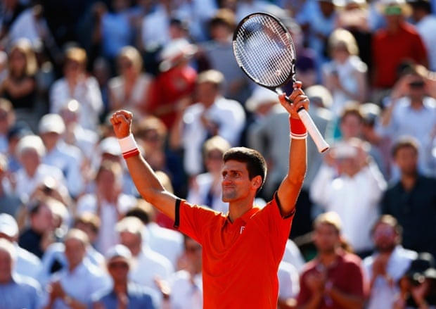Novak Djokovic celebrates victory.