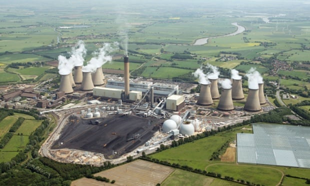 aerial view of Drax Power Station near Selby in North Yorkshire