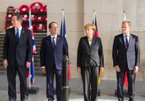 Britain's prime minister David Cameron, left, at a world war one commemoration in 2014 with French president François Hollande, German chancellor Angela Merkel and former Polish prime minister Donald Tusk, who is now president of the European Council.