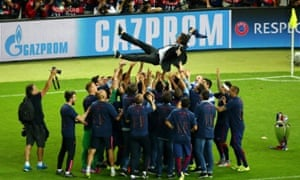 Barcelona manager Luis Enrique is thrown in to the air by his players as they celebrate their fifth European Cup victory.