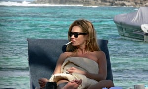 Kate Moss on beach in the Caribbean