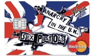 One of a new range of credit cards featuring the Sex Pistols, with the group's name and record sleeve artwork appearing on the cards from Virgin Money.