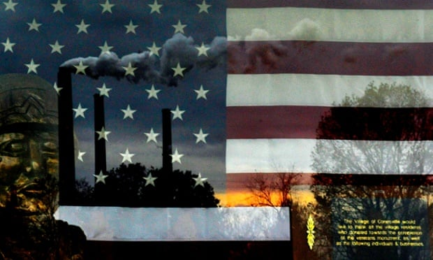 The AEP plant can be seen reflected in the glass that encases a veterans memorial at Conesville City Park. The A.E.P.(American Electric Power) coal burning plant in Conesville, Ohio had a scrubber (filtering system to limit emissions into the air) added to the unit seen emitting smoke in photo. There are other units at the coal burning plant they may go offline because installing more scrubbers is not feasible or cost effective for the company. Some job losses are expected if parts of the plant are taken offline in the future because of air quality regulations that will take effect in the next couple of years.