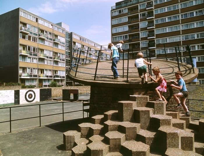 Churchill Gardens estate in Pimlico, London, 1978This playground is on the modernist Churchill Gardens estate designed by Powell and Moya, but clearly built at a later date. Before these postwar playgrounds were built, children would have been playing in the bomb sites left after the war. It's possible the architects were referencing that in their design.  All captions by Simon Terrill  Photograph: John Donat/RIBA