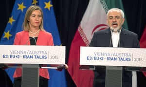 Federica Mogherini, the EU's foreign policy chief, and Mohammad Javad Zarif, Iran's foreign minister, speak at a press conference in Vienna after announcing the Iran nuclear deal.