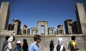 Tourists at the Tachara Palace in Persepolis.