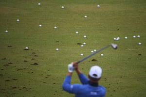 Henrik Stenson on the driving range during a practice round.