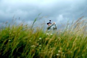 Jordan Spieth of the United States tees off from the ninth.
