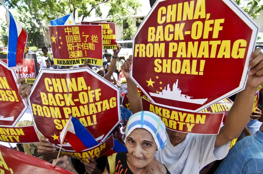 Protesters stage a rally outside the Chinese embassy in Manila demanding that China pull out of the contested Scarborough Shoal in the South China Sea.