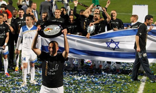 Hapoel Ironi Kiryat Shmona celebrate after winning the Israeli title in 2012.