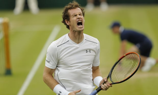 """Come on Andy"" Murray tells himself."