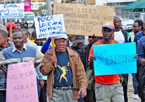 Protesters in Maputo march against xenophobic attacks on Mozambican migrants in South Africa.