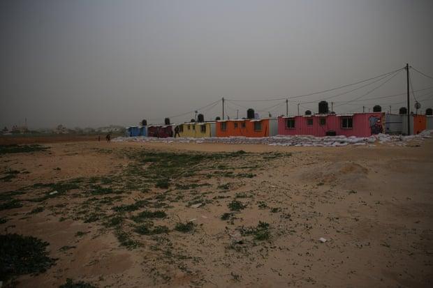Brightly decorated caravans in Khuzaa village, Gaza